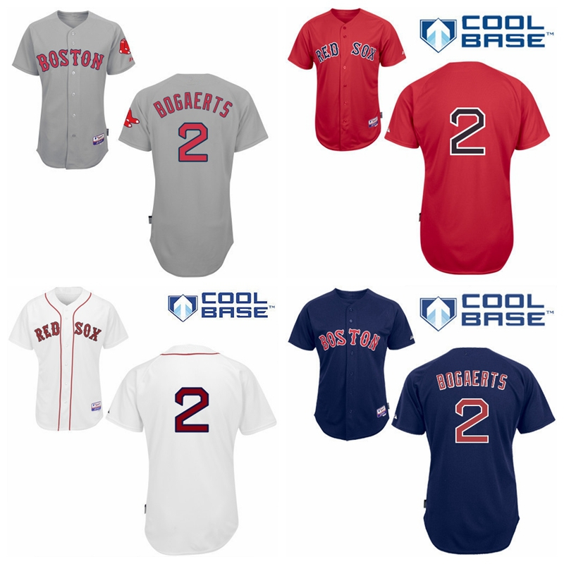 Boston Red Sox 2 Xander Bogaerts Jersey 2015 New Grey Red White Blue Stitched Authentic Cool Base BaseBall Jersey Discount Price(China (Mainland))
