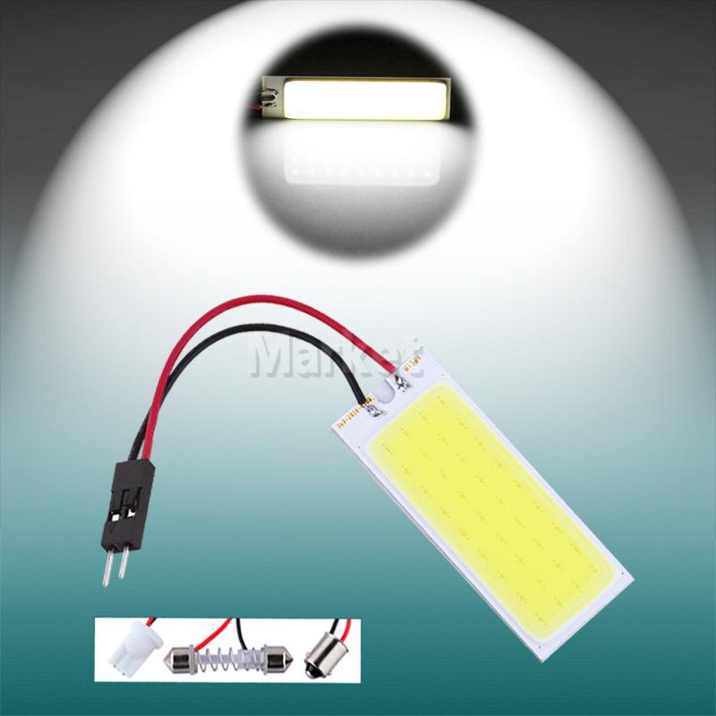2pcs 6W COB 36 Chip LED Car Panel Interior Light T10 w5w lamp Festoon c5w bulb Dome ba9s Adapter LED Panel car light source 12V(China (Mainland))