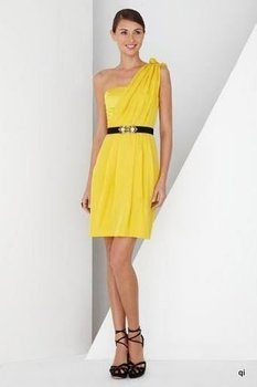 Free shipping,Lhui 040901 yellow,discount satin evening dress,one-shoulder,knee-length,accept