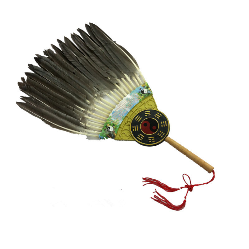 Chinese Vintage Style Charming Kong Ming Fan Big Goose Feather Hand Fan Shokatsuryou Gossip Feather Fan Tassel Gift Fans(China (Mainland))