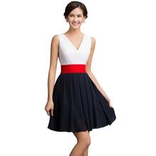Elegant Cocktail Dresses Knee Length Women Prom Dresses with Belt Deep V Neck Vintage Short Cocktail Dress for Party 7525(China (Mainland))