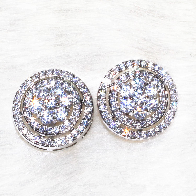 Full drill double round ring shape with flower in earrings AAA Zircon supper shinning in lighting 124 stone grain  ALW1848<br><br>Aliexpress