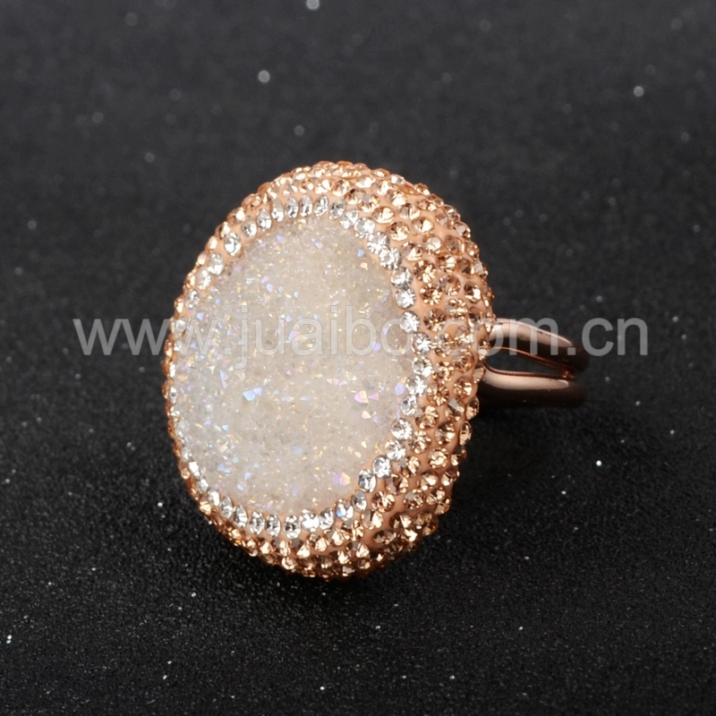 New 2015 Fashion ZC Ring Gold Plated AB Color Round Agate Druzy Geode Ring With Champagne Zircon Ring JAB087-1<br><br>Aliexpress