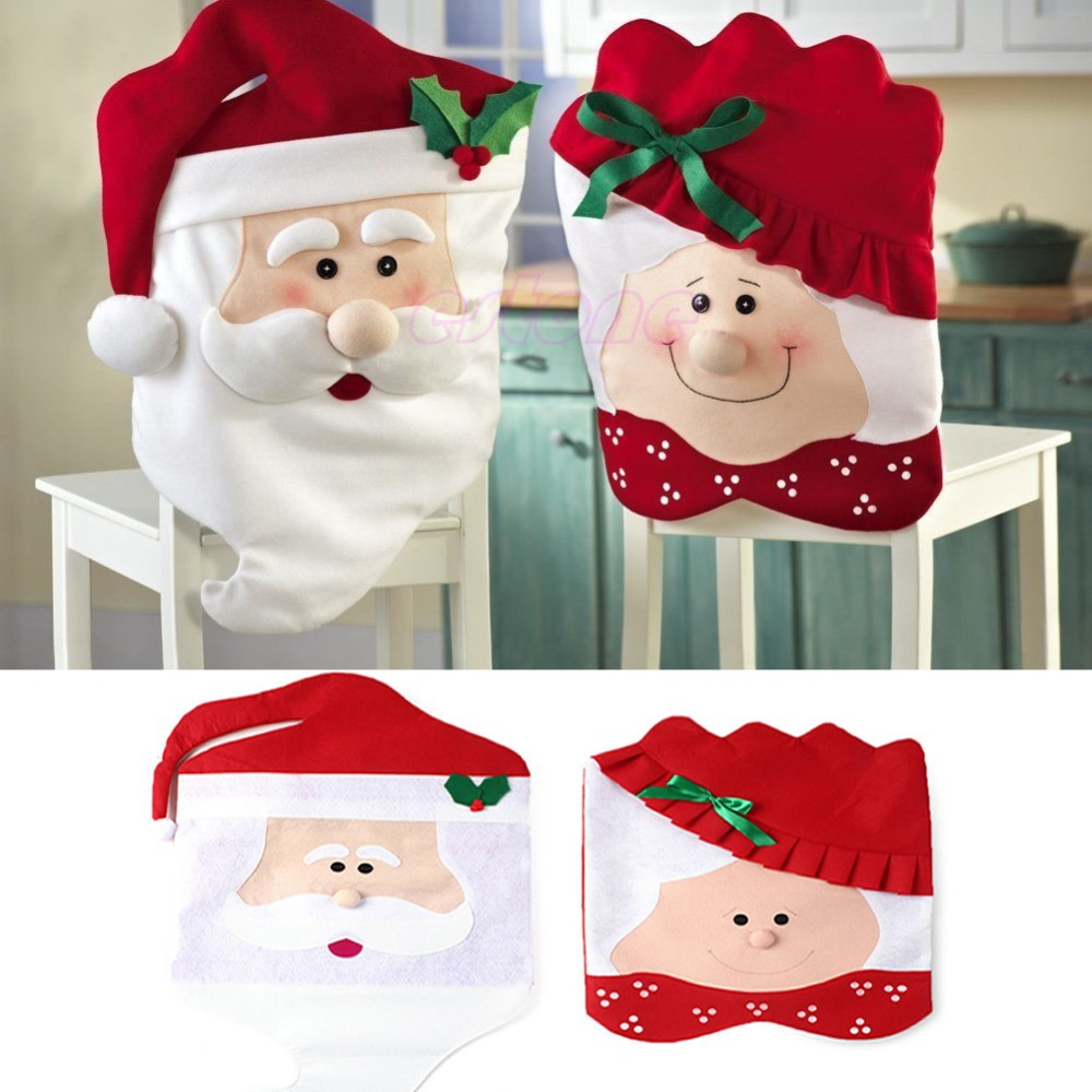 1pc Lovely Christmas Chair Covers Mr & Mrs Santa Claus Christmas Decoration Dining Room Chair Cover Home Party Decor(China (Mainland))