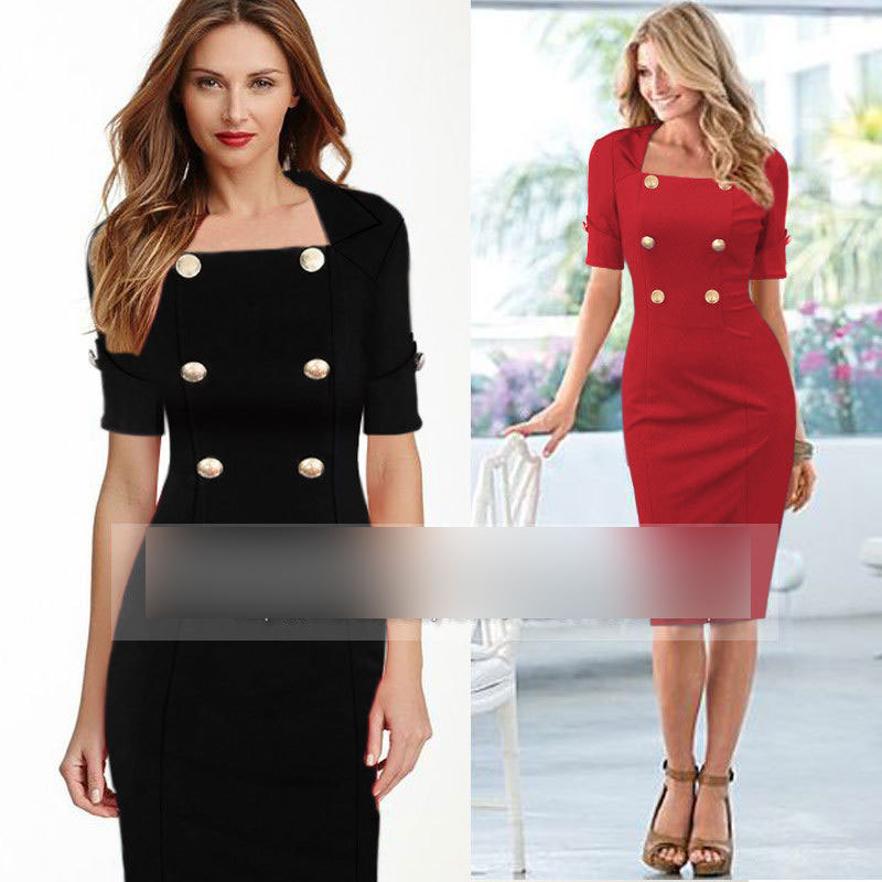 2015 European And American Stars With The Same Style Classic Retro Autumn Dress Pencil Style