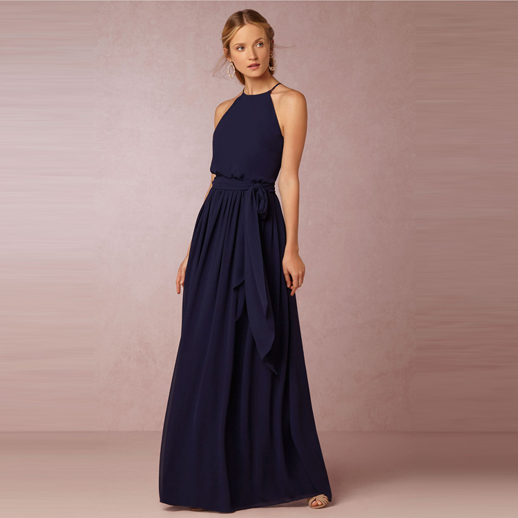 Halter chiffon navy blue bridesmaid dress floor length for Blue long dress wedding