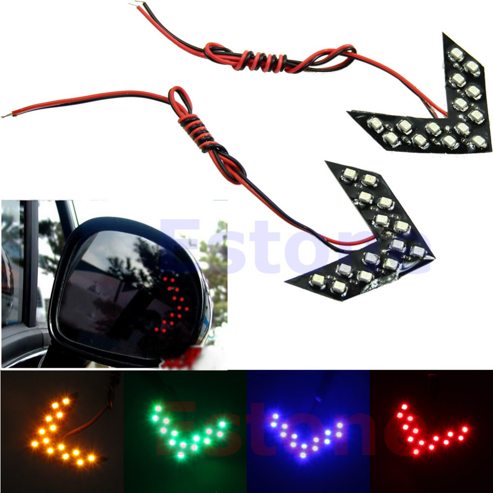 Free Shipping 1PC 14 SMD LED Arrow Panels Light Car Side Mirror Turn Signal Indicator Light 4 Colors(China (Mainland))