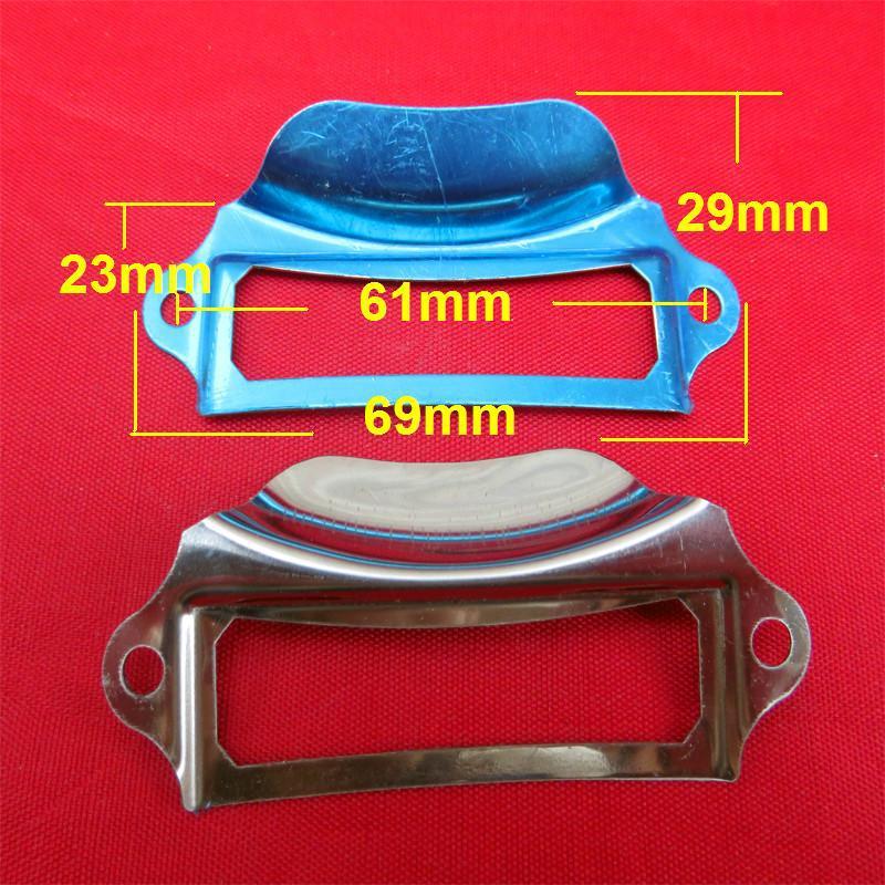 Vintage finger label frame card holder pull handle for cabinet drawers box bin furniture69*29mm white color(China (Mainland))