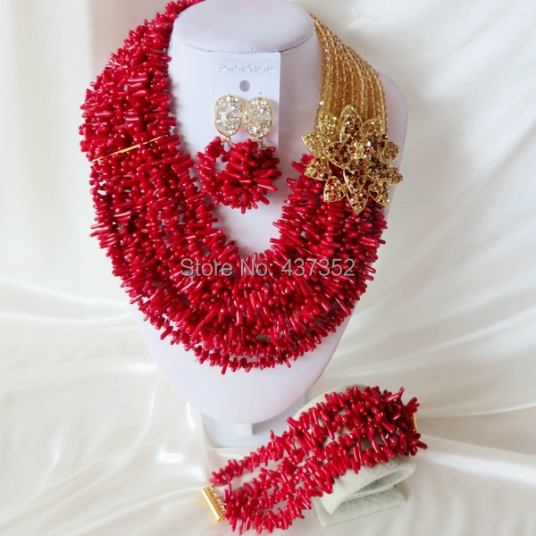 Handmade Nigerian African Wedding Beads Jewelry Set , Champagne Gold Crystal Coral Beads Necklace Bracelet Earrings Set CWS-413