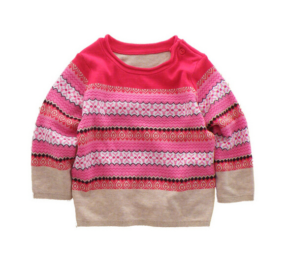 LiYuanXing-034 New 2014 Spirng Autumn Baby Girls Sweaters Flowers Striped Gilrs Pullovers Toddly Sweater Lot