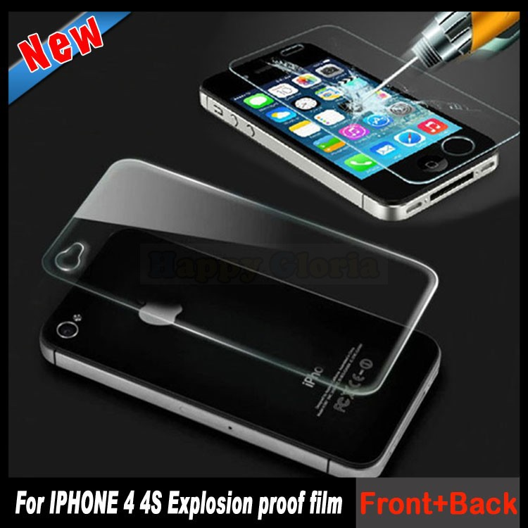 Real 0.3mm 9H Front + Back 2.5D Tempered Glass For iPhone 4 4G 4S 4GS Screen Protector Anti Shatter Film 2Pcs/Lot Free Shipping(China (Mainland))
