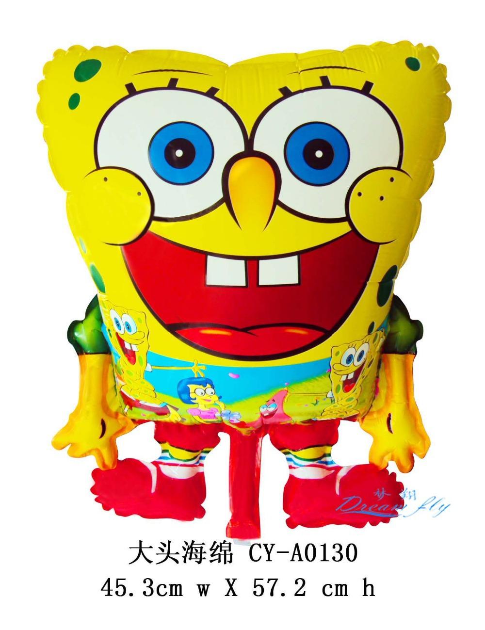 2015 New arrived free shipping spongebob cartoon design foil aluminum big balloon wholesales(China (Mainland))
