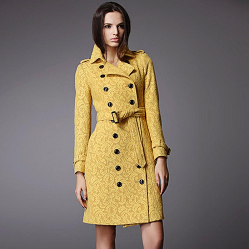 vendy Fashion Belt Slim long coat for women lace manteau femme long maxi duster coat jacket women's womens coat(China (Mainland))