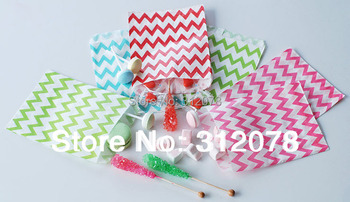 """5*7"""" Chevron Zig Zag Wave Popcorn Candy Paper Goodie Bag Treat Favor Bags Giveaway Bags for Wedding,100 pcs/lot"""