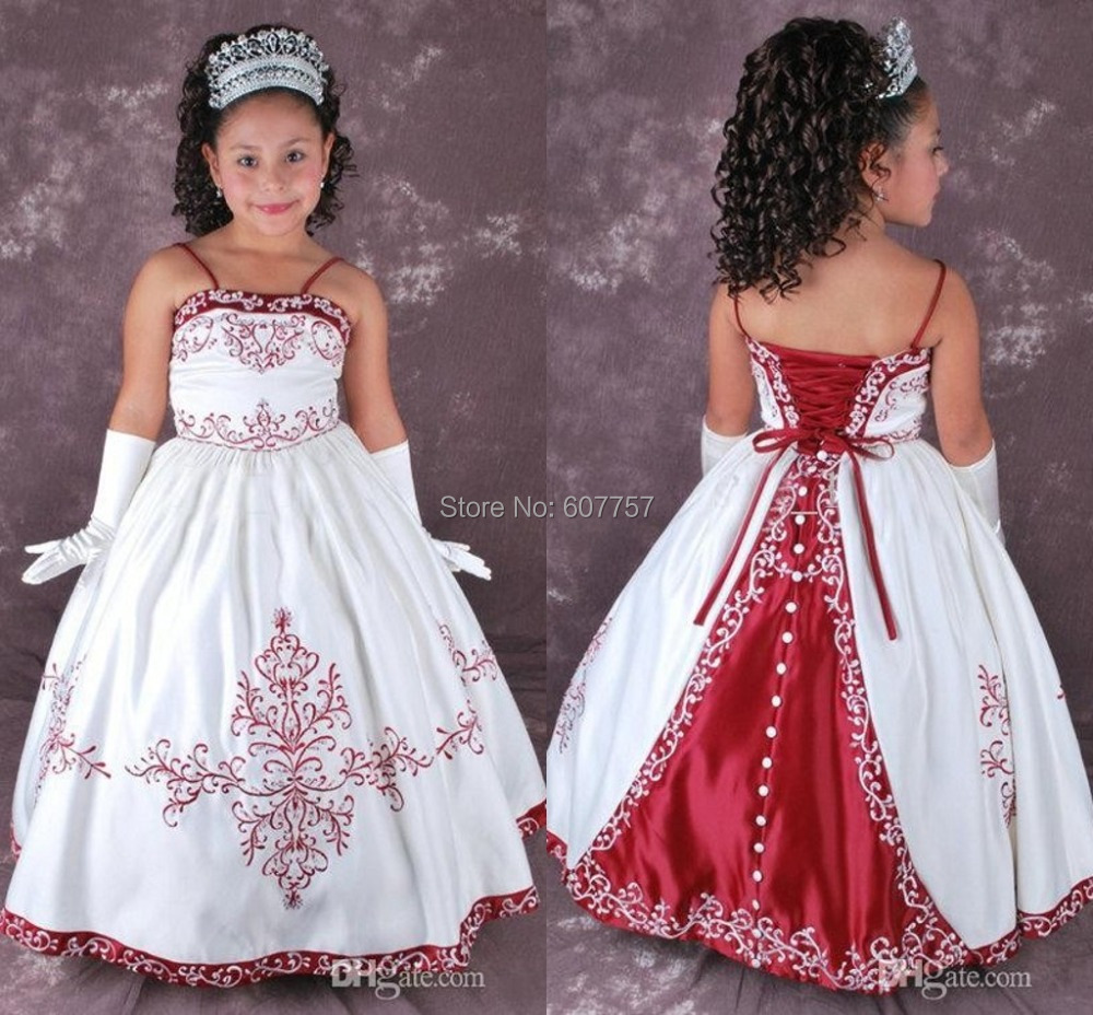 2015 cheap lovely flower girls dress white and red a line for Cheap white and red wedding dresses