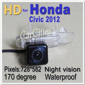 NEW!! HD CCD parking camera for Honda CIVIC 2012, waterproof,Night version,rearview parking camera size:71*37.5*51.3mm
