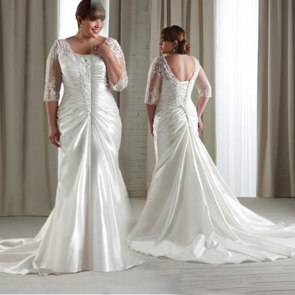 Plus Size Long Sleeve Wedding Gowns: 2015 Lace Appliques Backless Plus Size Wedding Dresses