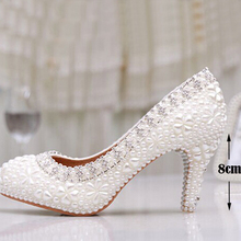 Luxury Pure White Pearl Wedding Shoes 3 Inches Comfortable Round Toe Antislip Bridal Dress Shoes Valentine Gift Party Prom Shoes(China (Mainland))
