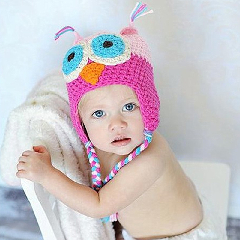 For Baby Grils Boys Handmade Knitted Kids Caps Baby Cartoon Infant Toddler Crochet Baby Hats Owl Cap With Ear Flap Animal Style(China (Mainland))