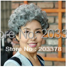 Capless High Quality Synthetic Short Gray white Lady's Wig Free Shipping