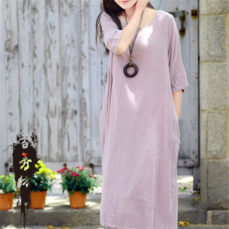 2015 women dress spring summer women solid dress cotton new original half sleeve dress gown Plus Size long dressОдежда и ак�е��уары<br><br><br>Aliexpress