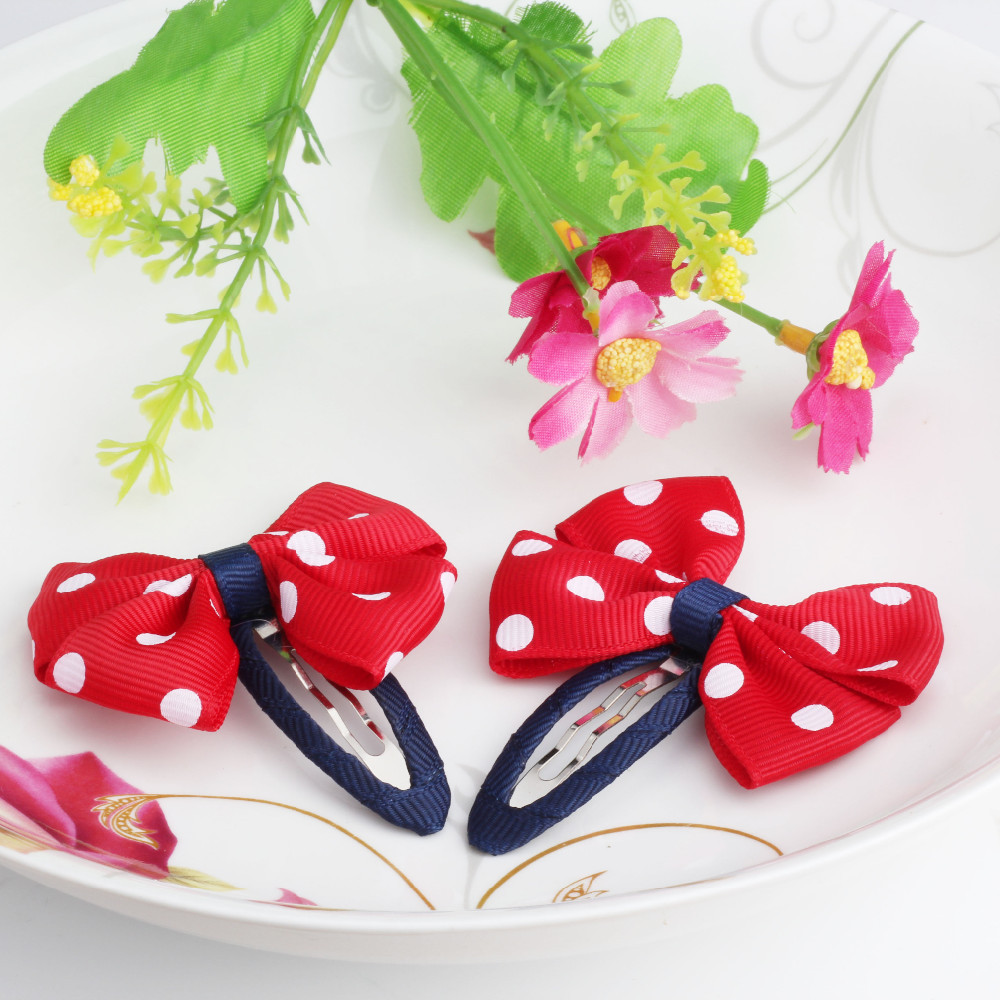 New Sold By Pairs Girls Hair Accessories Candy Color Dot Bow Hairpins Cute Baby Accessories Hair Accessories Bowknot Hair Clip