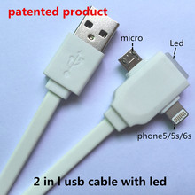 2 in 1 usb cable with led Both charging and data sync Applicable to asamsung galaxye mini s6 charger clone phone usb cable watch