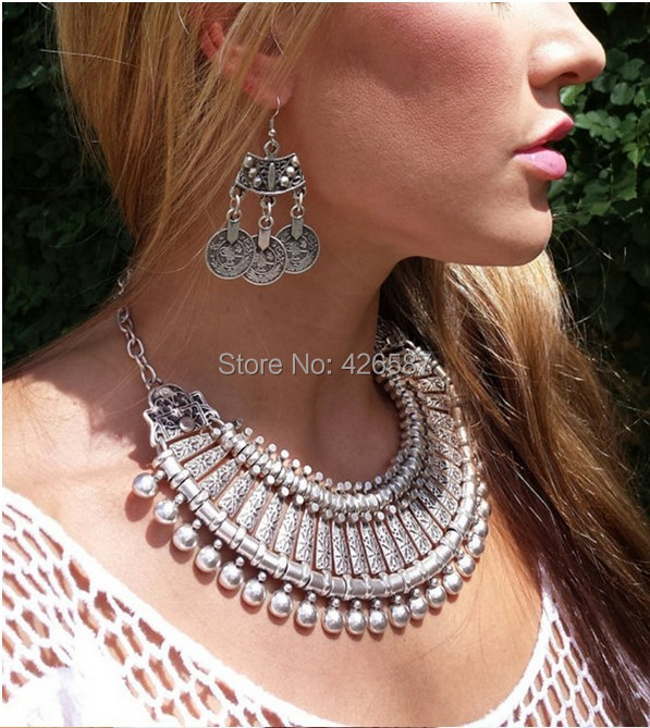 Vintage silver chain retro carving coin flower charms ball tassels long pendant false collar statement necklace - Yiwu M Queen Jewelry Factory store
