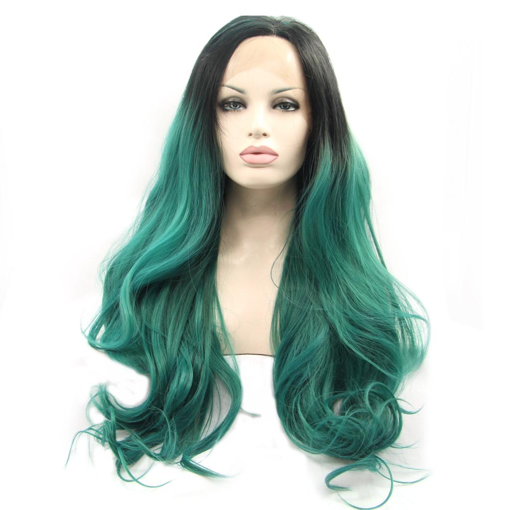 26 Cheap New Fashion Black Roots Green Ombre Wavy Synthetic Lace Front Wig Heat Resistant Hair For Women  Natural Wigs Sexy<br><br>Aliexpress