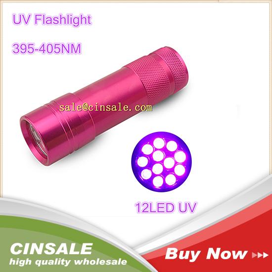 395 Ultra Violet Blacklight 12 LED Flashlight Torch Lamp Camping Hunting Lanterna Lantern Led Light Torch Rose(China (Mainland))