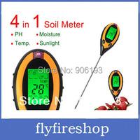 New 4 In 1 LCD Temperature Moisture Sunlight PH Garden Soil Tester Meter Free shipping