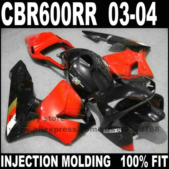 ABS plastic Injection motorcycle part for HONDA CBR 600 RR 2003 2004 CBR600RR fairings set CBR600 03 04 black red fairing kit(China (Mainland))