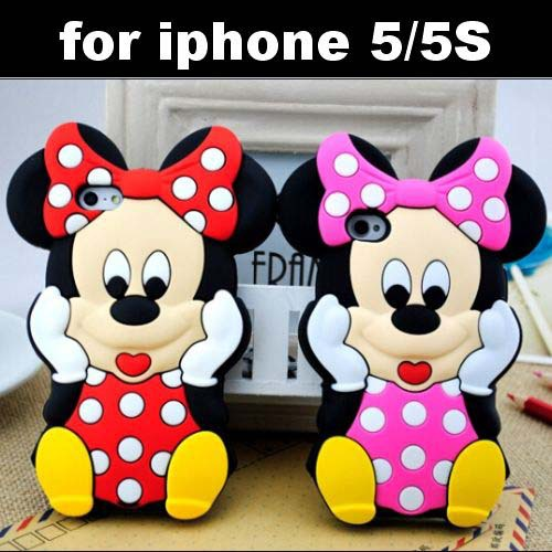 iPhone 5 5S 5g Lovely Cute Cartoon Mickey Mouse Minnie 3D Soft Rubber Silicone Cover Case Skin - IRS Trading Co.,Ltd store