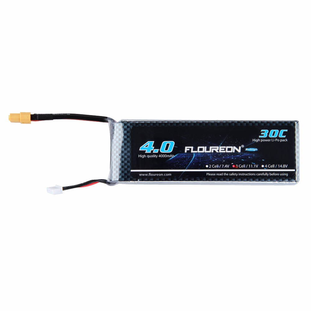 FLOUREON 3S LiPo Battery 11.1V 4000mAh 30C Pack XT60 Plug for RC Helicopter RC Airplane RC Hobby(China (Mainland))