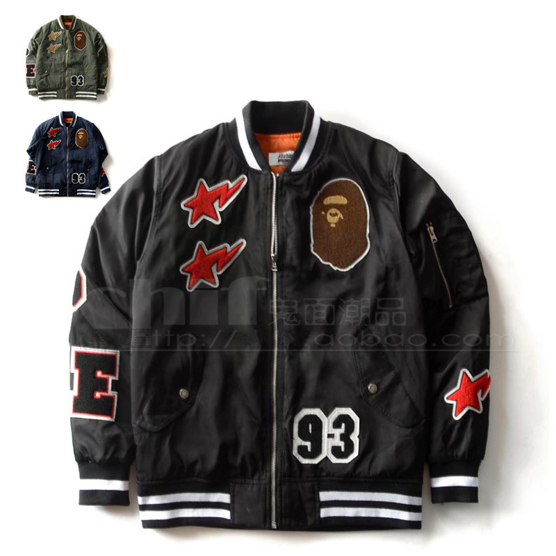 streetwear Tide brand BAPE Badge Cartoon baseball jacket Thin section Quilted wadded bomber Outerwear Men and women Lovers coat (China (Mainland))