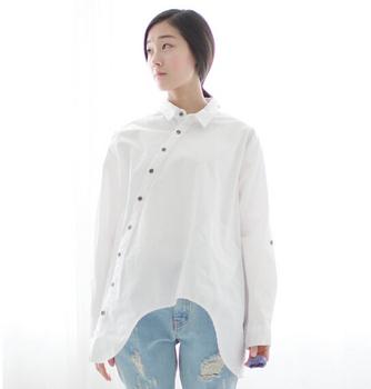 2015 новую рубашку женщин хлопок белье наклонная косой кнопка белый синий цветочные ...