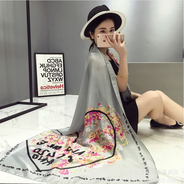 2016 women new spring summer retro silk scarf floral love scarves shawl fashionable brand designer stole echarpes foulards femme - KK Mall Shopping Centre store