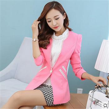 Пиджак feМиниno приталенный длинная рукавами женское женщины пальто сладкий стиль ...