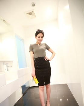 41a1 (4414)2013 new Korea rhinestone Slim solid color shoulder pads Leisure T shirt women's ( gray  Genuine)