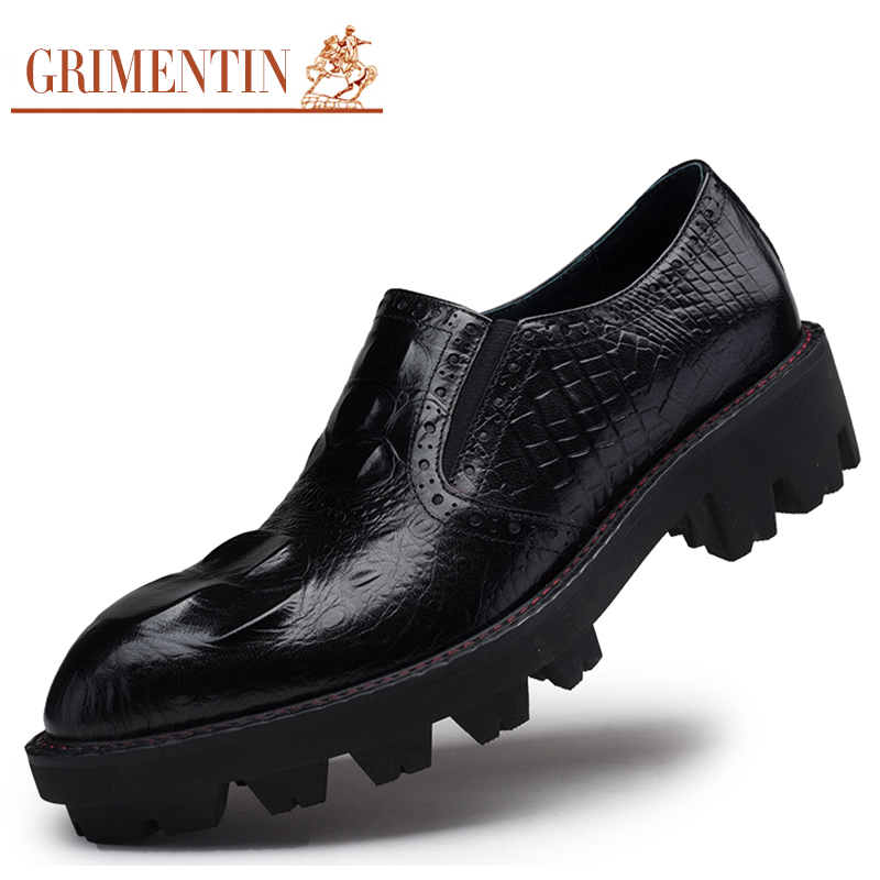 GRIMENTIN fashion crocodile mens heighten shoes genuine leather thick sole antislip men shoes flats for leisure outdoor O42(China (Mainland))