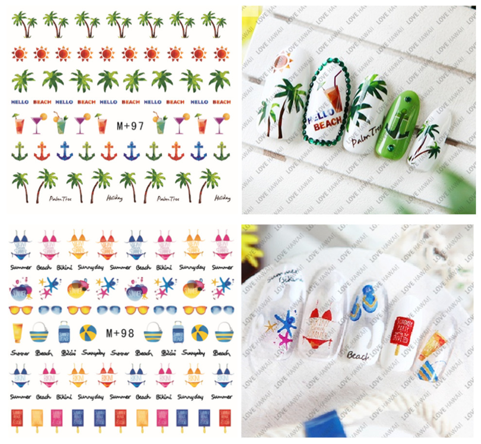 5pcs water transfer decal fruits/sea shells/ coconut tree/fish design Nail Sticker Manicure Nail DIY decorations(China (Mainland))