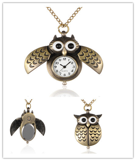 Pocket Watch Alloy Cute Open Close Wing Owl Pendant Necklace Quartz With Iron Chains And Lobster Claw Clasps, Antique Bronze(China (Mainland))