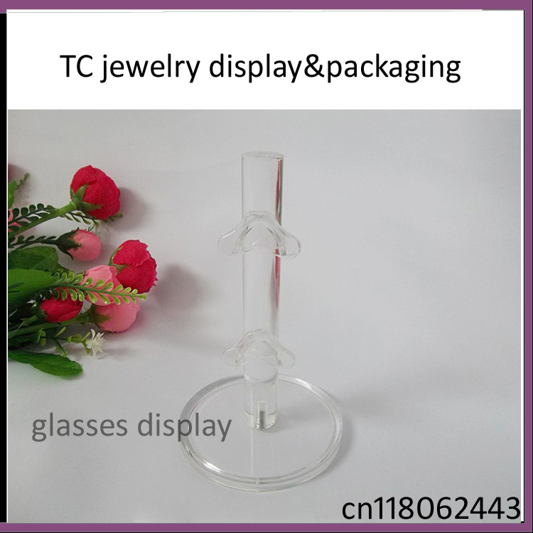 Free Shipping High Quality White Clear Acrylic 2 Pairs Glasses Display Props Sunglasses Show Holder Plastic Stand Rack Frame(China (Mainland))