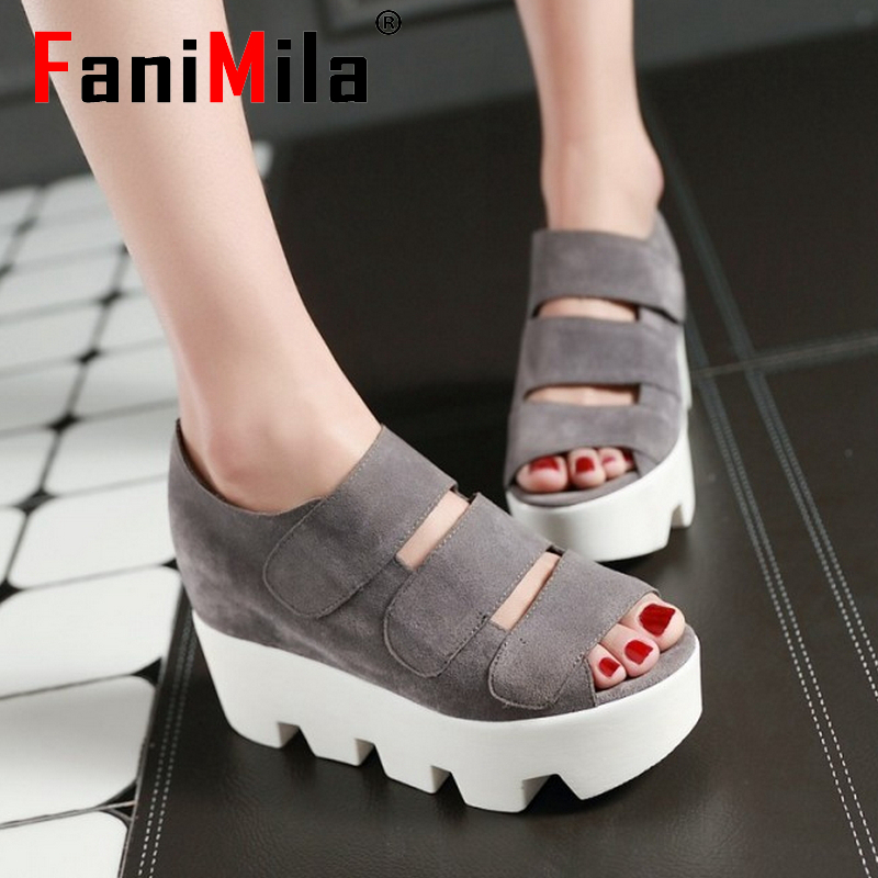 women wedge ankle wrap platform high heel sandals brand velcro sexy fashion lady heeled footwear heels shoes size 34-39 P18881