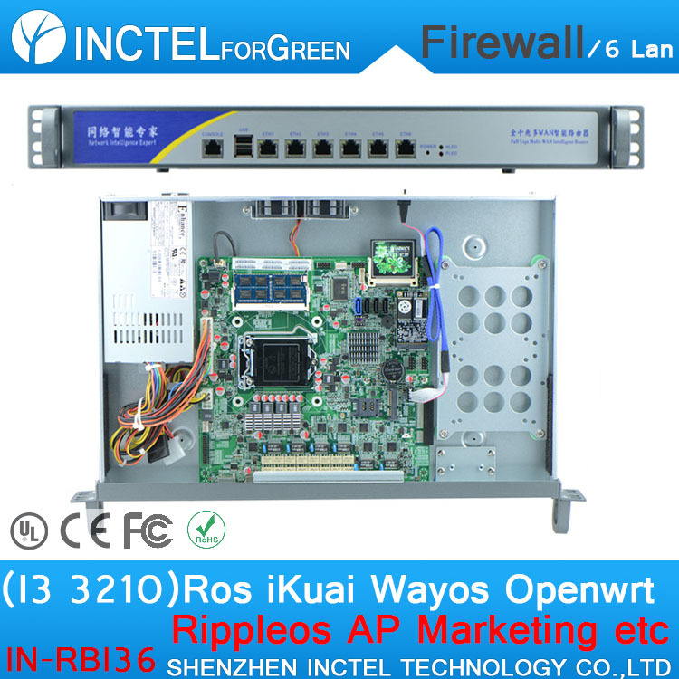 ROS 6 Gigabit flow control firewall OPENWRT with I3 3210 cpu 1000M 6 82574L 2 groups Bypass model number IN-RBI36(China (Mainland))