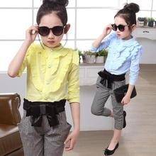 Autumn Baby Girls Clothing Sets Vetement Fille Blouse+Gray Plaid Pants Children Clothing 4-14 Years Old Conjunto Infantil Menina(China (Mainland))