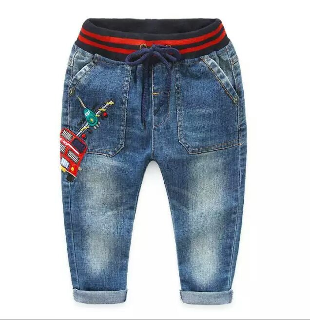 2016 Hot Toddler Boy's Cute Character Helicopter & Car Soft Jeans for Children Denim Pants Elastic Waist + Drawstring 2-8 Years(China (Mainland))