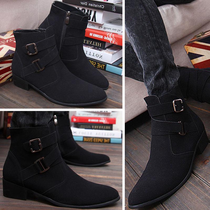 Cowhide Winkle-picker Korean Version Belt Zip Leisure Men Shoes Winter Chukka Boots High Quality Internal Height Increase<br><br>Aliexpress