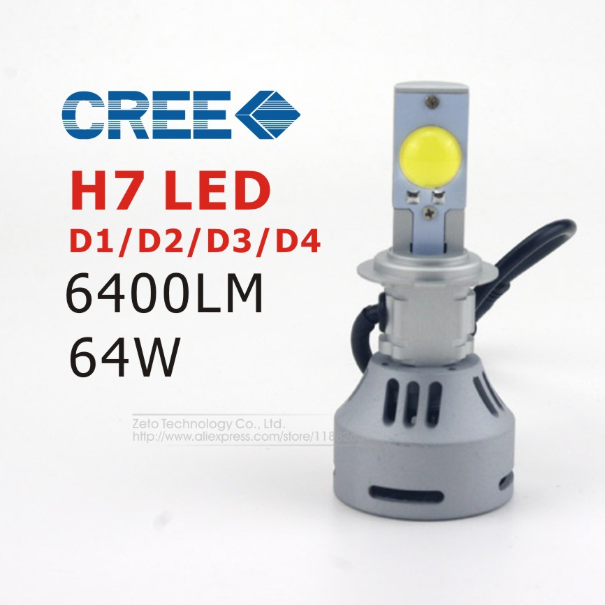 2x All In One DC12-24V 64W H7 Car LED Headlight Bulbs CREE MT-G2 LED Light Bulb 6400lm White LED Headlamp DRL FogLight<br><br>Aliexpress