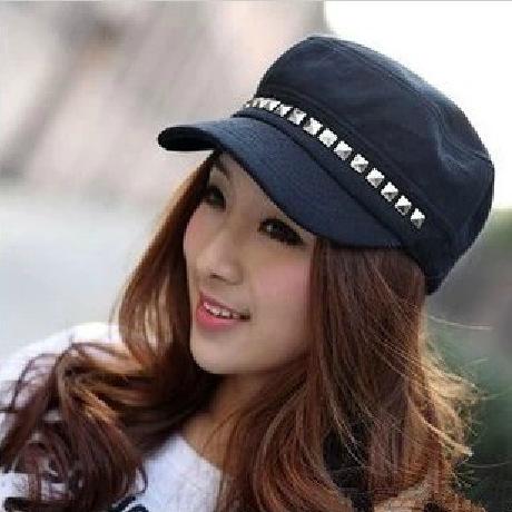 Military hat  flat cap M177 trendy ms plaid flat topped hat cap